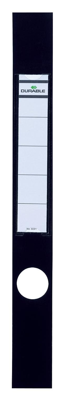 DURABLE 809101 - Ordofix, copridorso adesivo, personalizzabile, per raccoglitori larghi 50 mm, 40x390 mm, nero, confezione da 10 pezzi