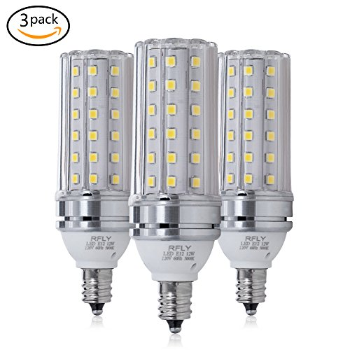 E12 LED Bulbs, 12W LED Candelabra bulb 100 Watt Equivalent, 1200lm, Decorative Candle Base E12 Non-Dimmable LED Chandelier Bulbs, Daylight White 5000K LED Lamp, Pack of 3