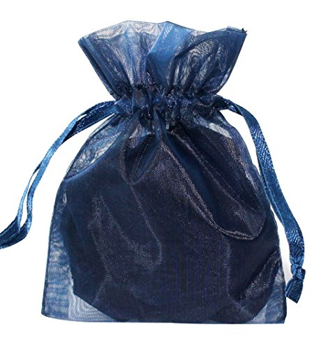 100pcs Deep Blue Organza Drawstring Pouches Jewelry Party Wedding Favor Gift Bags 6