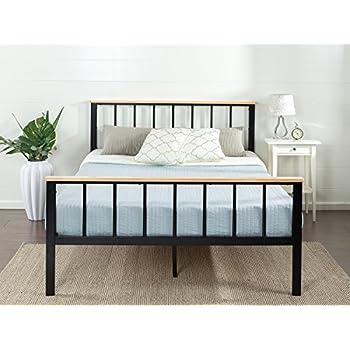 zinus contemporary metal and wood platform bed queen