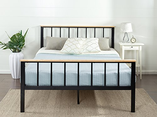 Zinus Contemporary Metal and Wood Platform Bed, Queen ()
