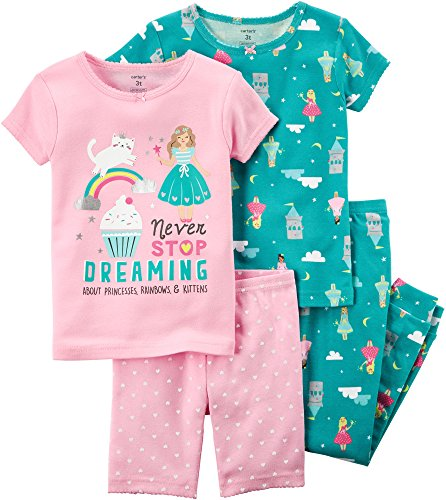 Girl Company Baby - Carter's Baby Girls' 4-Piece Snug Fit Cotton PJs, 12 Months