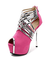 SFCSFLY Women's Fashion Peep Toe Sexy Ankle Strap Stiletto High Heel Pump Shoes