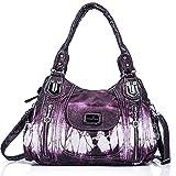Handbag Hobo Women Handbag Roomy Multiple Pockets Street ladies' Shoulder Bag Fashion PU Tote Satchel Bag for Women (AK812-2Z Purple)