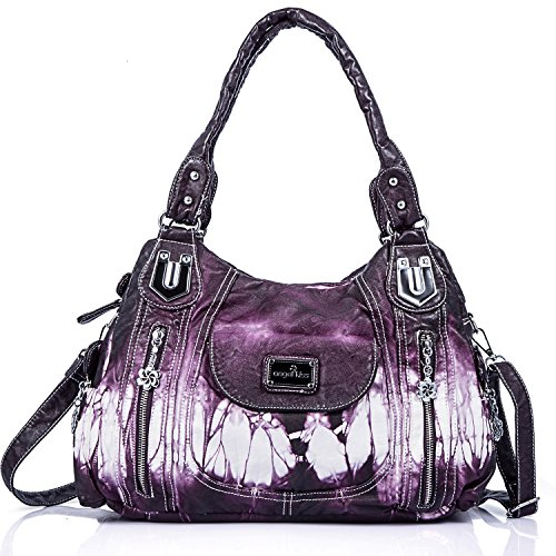 Handbag Hobo Women Handbag Roomy Multiple Pockets Street ladies' Shoulder Bag Fashion PU Tote Satchel Bag for Women (AK812-2Z Purple), ()