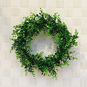 Karooch DIY Simulation Artificial Wreath Wall-Mounted Ornament Rose Eucalyptus Leaves Green Plant Burlap Garland Window Door Hanging Decor for Wedding Ceremony Party Home Garden (Green Plant) 5