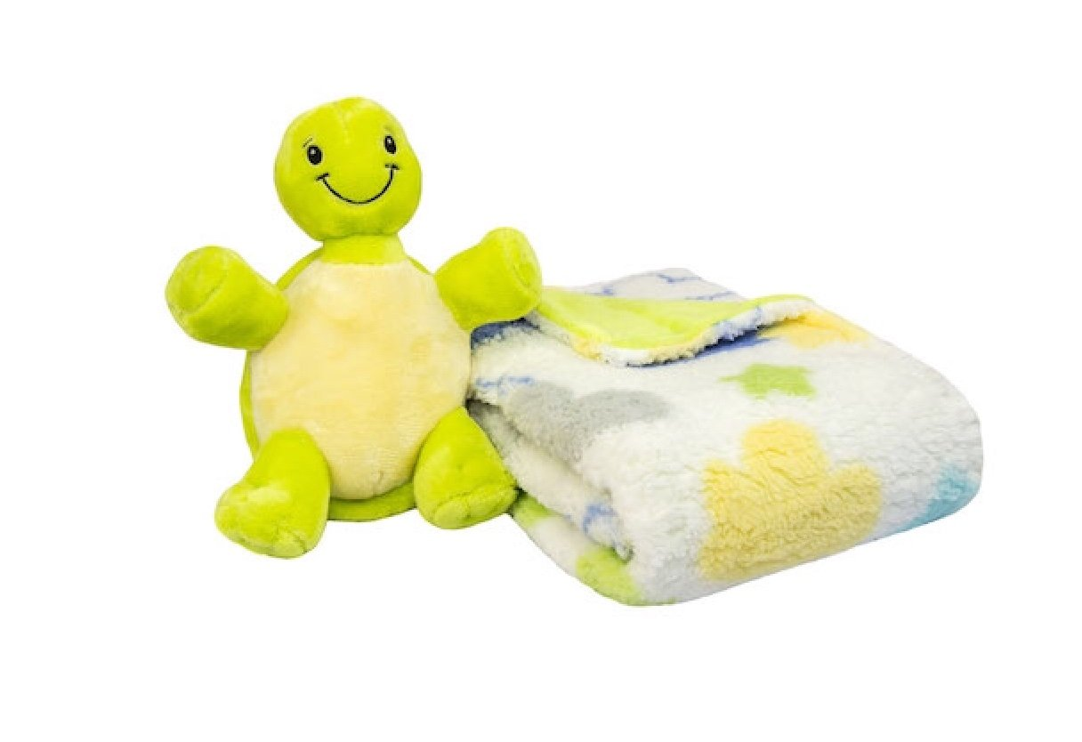 Baby & U Sherpa Blanket With Large Plush Bunny Toy (Turtle)