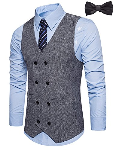 Sitengle Men's Formal Vest V-Neck Double-Breasted Suit Waistcoat Grey L Breasted Suit Coat