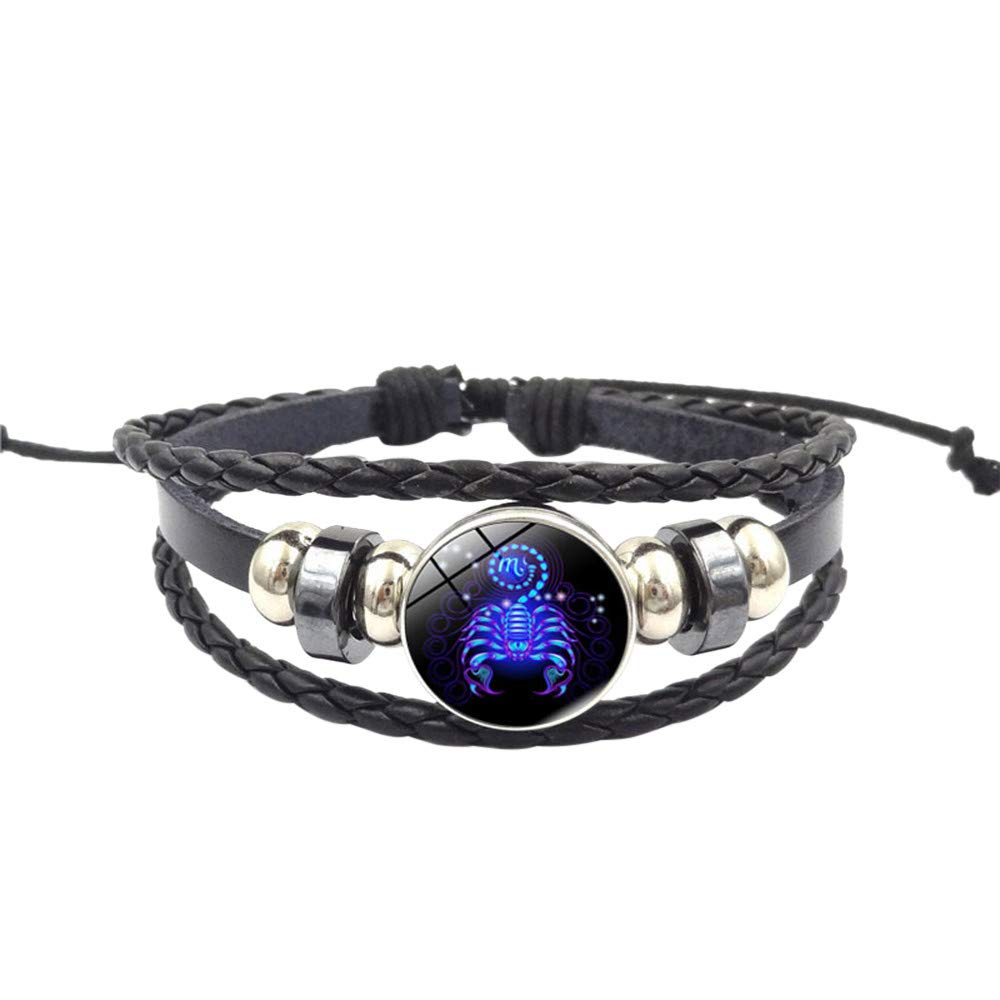 Ugood Hot Selling Adjustable Fashion Women Constellation Zodiac Sign Pendant Multilayer Handmade Wristband Leather Bracelet Bangle (Scorpio L)