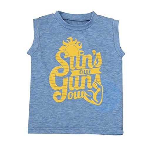 Sagton Kids Infant Baby Boys Cotton Vest Clothes Letter Print SleevelessT-Shirt Tops (4T) (Cotton Print Vest)