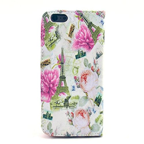 Monkey Cases® iPhone 6 Plus - 5,5 Zoll - Flip Case - Paris Frankreich - Weiß Matt - Premium - original - neu - Tasche - Eifelturm - white flowers