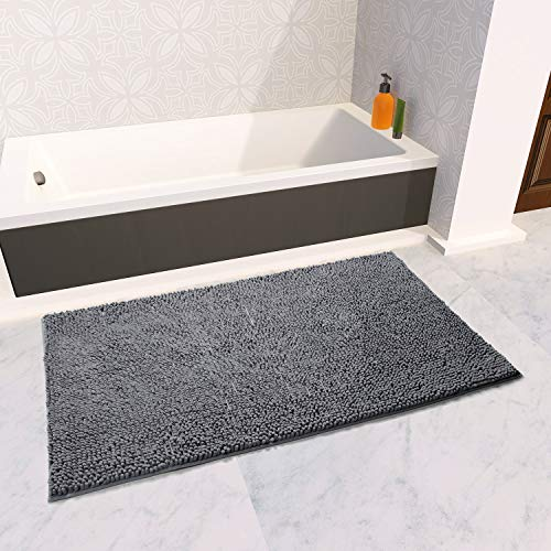 (Vdomus Soft Microfiber Shag Bath Rug, Extra Absorbent Comfortable, Anti-Slip,Machine-Washable Large Bathroom Mat (Grey 47'' X 26''))