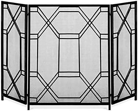 暖炉用品 アクセサ 3枚のパネル暖炉スクリーン屋外ポルティコ立ちゲート、鍛鉄スパークガードメッシュカバー - 51.6×33.5inch、ブラック