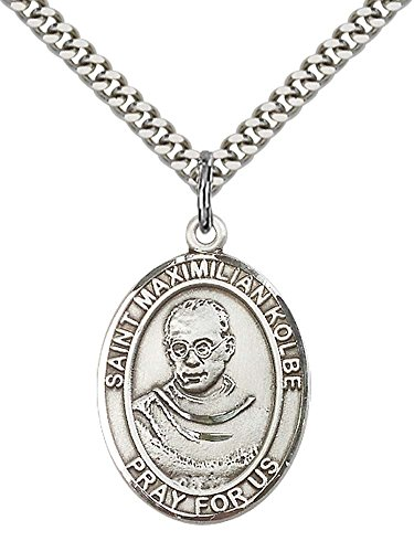 "F A Dumont Sterling Silver St. Maximilian Kolbe Pendant with 24"" Stainless Steel Heavy Curb Chain. Patron Saint of Charity/Drug Abuse"