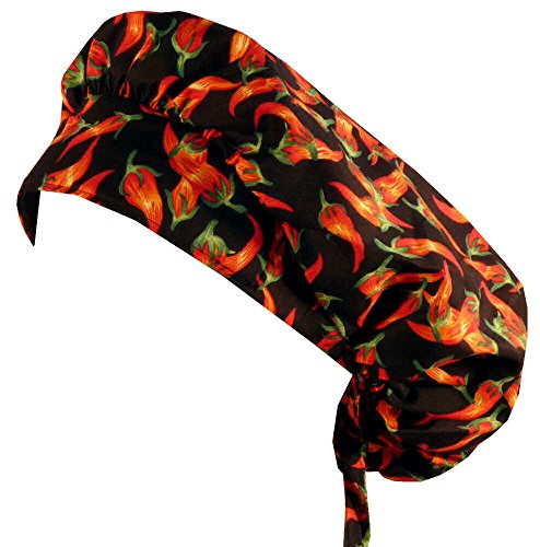 Sparkling Earth Bouffant Medical Scrub Cap - Red Chili Peppers on Black