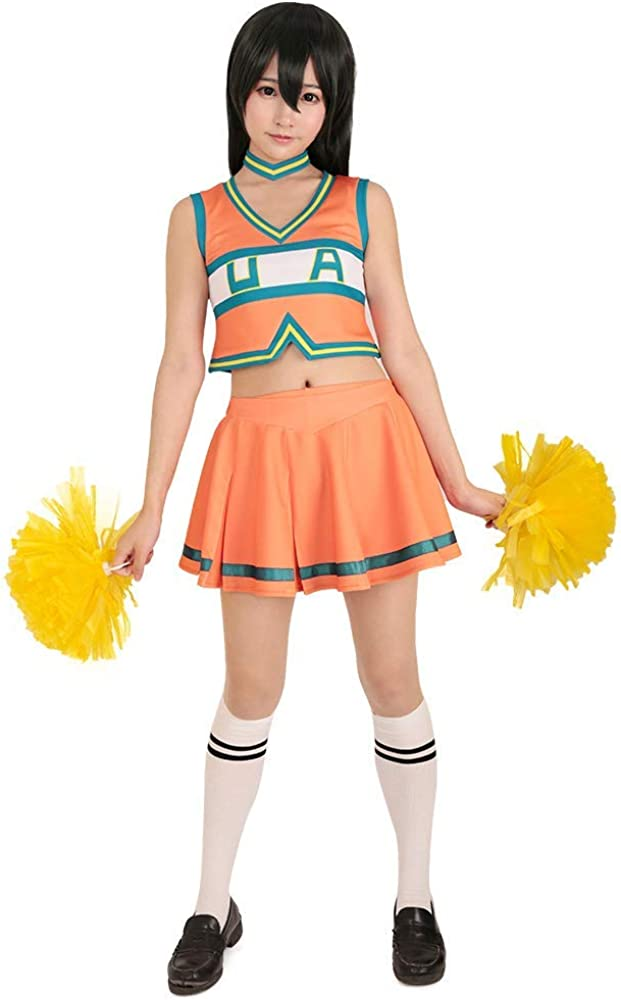 Miccostumes Womens BNHA Cheer Uniform UA Cheerleader Cosplay Outfit Asui Tsuyu Costume