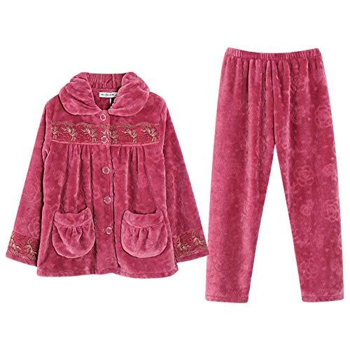 Con Batas Vintage Ropa Fashion Impreso Camisones Elegante Espesar Invierno Conjunto Larga Button Manga Pijama Bolsillos Mujer E Pantalones De Otoño Dormir T1rOwTPx
