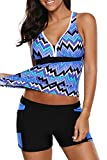 momolove Womens Two Piece V-Neck Tankini Swimsuit with Boardshort Plus Size (Blue, Large)