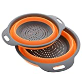 Kitchen Maestro Collapsible Silicone Colander/Strainer. Includes 2 Sizes 8 and 9.5 inch.