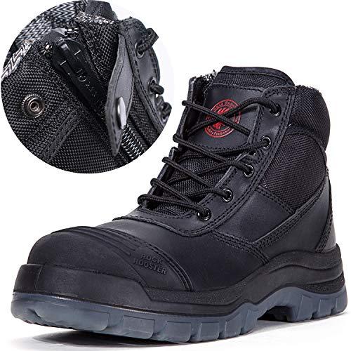 ROCKROOSTER Men's Work Boots Waterproof, Steel Toe, Antistatic, Water Resistant Leather Shoes, Width EEE-Wide (AK050 Black, US 9.5) ()