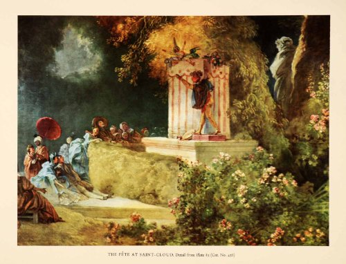 1960 Tipped-In Print Fete Saint-Cloud Jean-Honore Fragonard Puppet Show Festival - Orig. Tipped-in (Fragonard Painting)