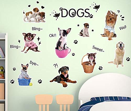 Fangeplus(TM) DIY Removable Cute Dogs Puppy Art Mural Vinyl Waterproof Wall Stickers Kids Room Decor Nursery Decal Sticker 27.5x19.6
