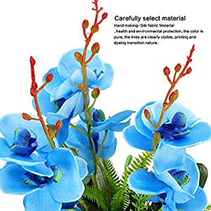 YOBANSA Big Size Orchid Bonsai Artificial Flowers with Imitation Porcelain Flower Pots Phalaenopsis Fake Flowers Arrangements for Home Decoration (Rose Red) 9