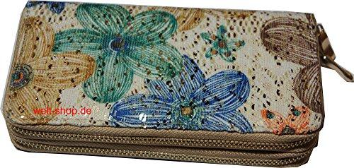 Portemonnaie Geldbörse Geldbeutel Portmonee Ethno mit viel Platz Pailletten Glitzer Blumen EJyUxRKpMC