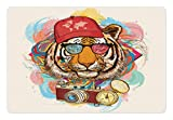 Ambesonne Animal Pet Mat for Food and Water, Hipster Rapper Tiger with Sunglasses Hat and Camera Artist Hippie Animal Comic Print, Rectangle Non-Slip Rubber Mat for Dogs and Cats, Multicolor