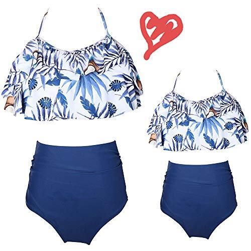 2Pcs Mommy and Me Matching Family Swimsuit Ruffle Women Swimwear Children Toddler Bikini Kid Beachwear Bathing Suit Outfit Sets (Blue, Girl 6-8 T)]()