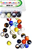 Set of 50 Assorted Player Marbles 5/8 Inch with Portable Container
