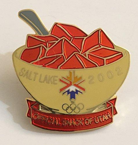 2002 Salt Lake City Winter Olympics Original Small Orange Jello Official Snack of Utah Pin
