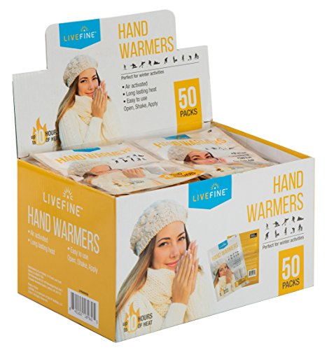 Livefine Hand Warmers – Long-Lasting Air Activated Heat Packs – Up to 10 Hours of Warmth for Outdoor Construction, Winter Sports, Football Tailgating & More – 50 Pack