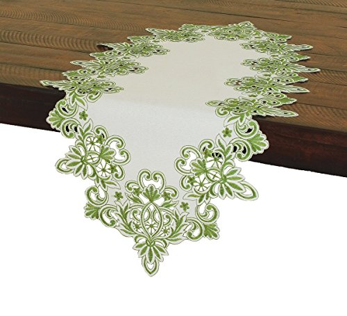 Xia Home Fashions Victorian Lace Embroidered Cutwork Table Runner, 16 by 34