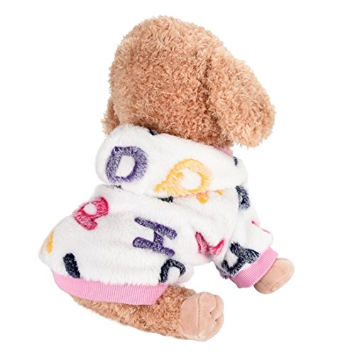 Hot Sale!!Dog Flannel T-Shirt,Pet Warm Comfortable Autumn Winter New Clothes (M, Pink) (Flannel Label)
