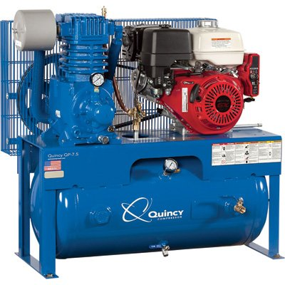 Quincy QP-7.5 Pressure Lubricated Reciprocating Air Compressor - 13 HP, Honda Gas Engine, 30-Gallon Horizontal, Model# G313H30HCE Quincy Compressor