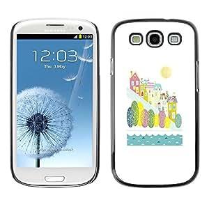 TopCaseStore / la caja del caucho duro de la cubierta de protección de la piel - City River Fall Autumn Kids Children White - Samsung Galaxy S3 I9300