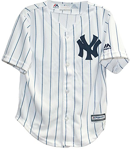 (Majestic Toddler New York Yankees White/Navy Blue Baseball Jersey (4 Toddler))