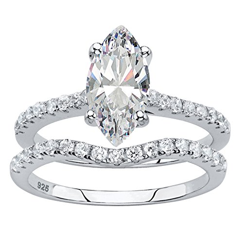 Platinum over Sterling Silver Marquise Cut and Round Cubic Zirconia 2 Pair Bridal Ring Set Size 7