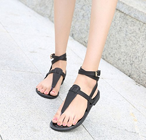 Summer Casual Lacing Buckle Mode Sandales Flat Roman Femmes Black Z6vw6z7