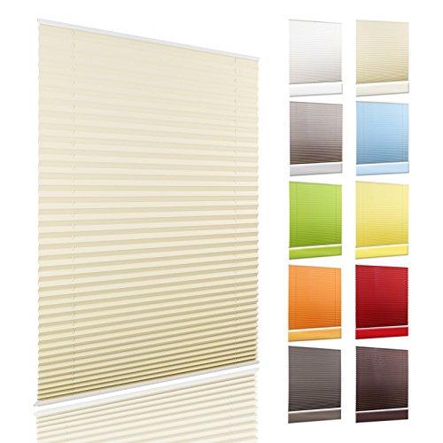 OUBO Plissee Jalousie Klemmfix ohne Bohren 45 x 200 cm (BxH) Beige Sichtschutz Klemmträgern für Fenster & Tür