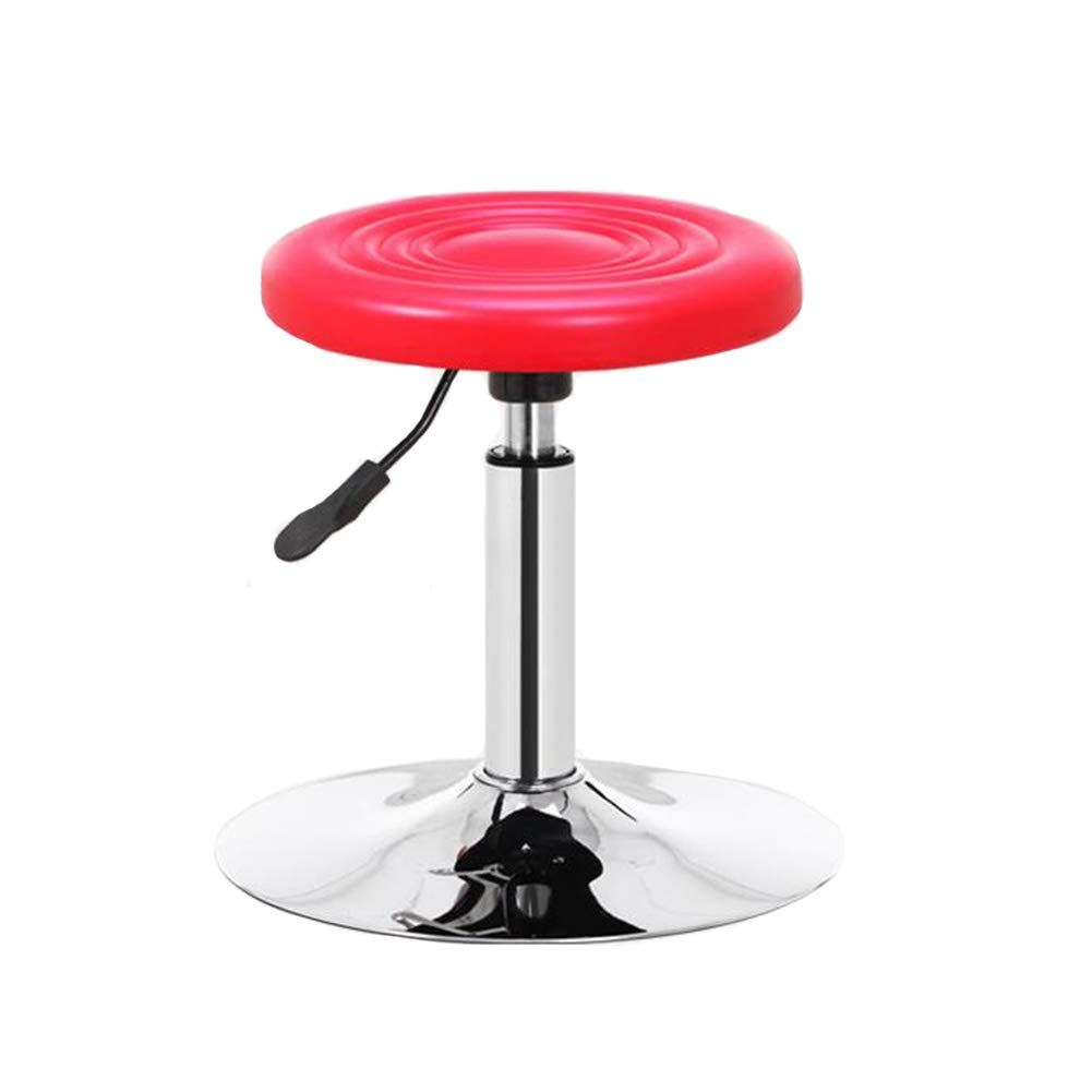 RED Disc Dall Bar Stools PU Kitchen Swivel Bar Chairs Breakfast Chrome Adjustable Seat Height (color   Black, Size   Disc)