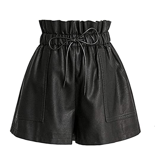 Buy SCHHJZPJ High Waisted Wide Leg Black Faux Leather Shorts for Women  (Black, XX-Large) at Amazon.in