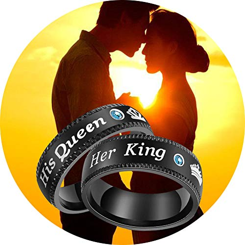 (Jemant Promise Rings for Women Men His Queen Her King Crown Black Stainless Steel Blue Zircon Couple Rings Engraved Nickel Free Engagement Wedding Personalized Gay Lesbian Unisex (Men, 9))