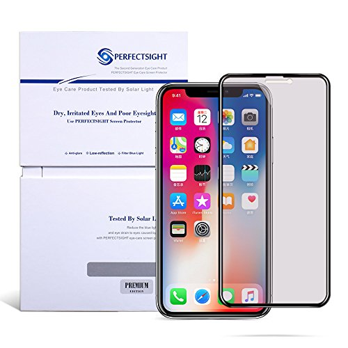 PERFECTSIGHT Glass Screen Protector Compatible Apple iPhone X XS 10 - Anti Glare Blue Light Filter ()