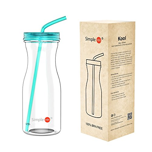 Tritan Water Bottle With Straw by SimpleHH: BPA Free Cold Drink / Water Container   33oz Dishwasher-Safe Tumbler   Extra Wide Mouth w/ Easy Twist Lid, Tiffany Blue