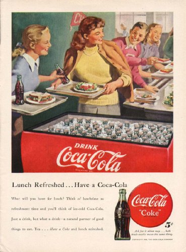 Lunch Refreshed Have a Coca-Cola ad 1948 cooler coeds