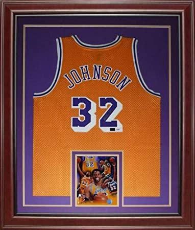 ae41d44c65d Magic Johnson Autographed Signed Auto Los Angeles Lakers Yellow #32 Deluxe  Framed Jersey PSADNA -