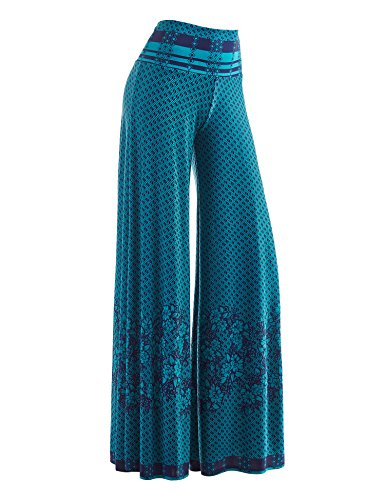 Made By Johnny WB1194 Womens Polka Dot Wide Leg Palazzo Pants XL Jade_Navy - Wide Leg Palazzo Pants