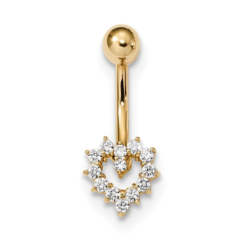 9.32mm 14k Cubic Zirconia Heart Belly Ring by JewelryWeb